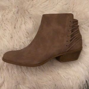 JustFab Flats Ankle Booties - Tan